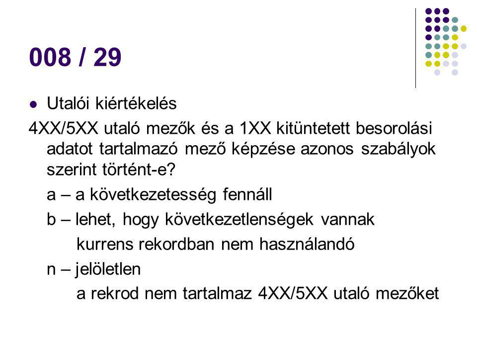 008 / 29 Utalói kiértékelés. 4XX/5XX utaló mezők és a 1XX kitüntetett besorolási adatot tartalmazó mező képzése azonos szabályok szerint történt-e