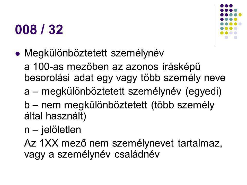 008 / 32 Megkülönböztetett személynév