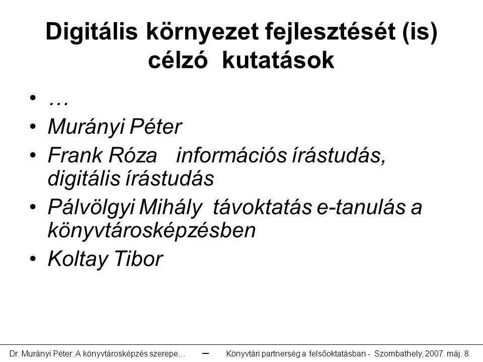 Digitális környezet fejlesztését (is) célzó kutatások