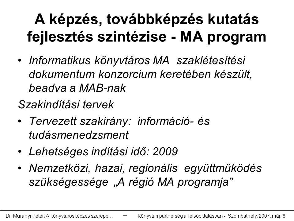 A képzés, továbbképzés kutatás fejlesztés szintézise - MA program