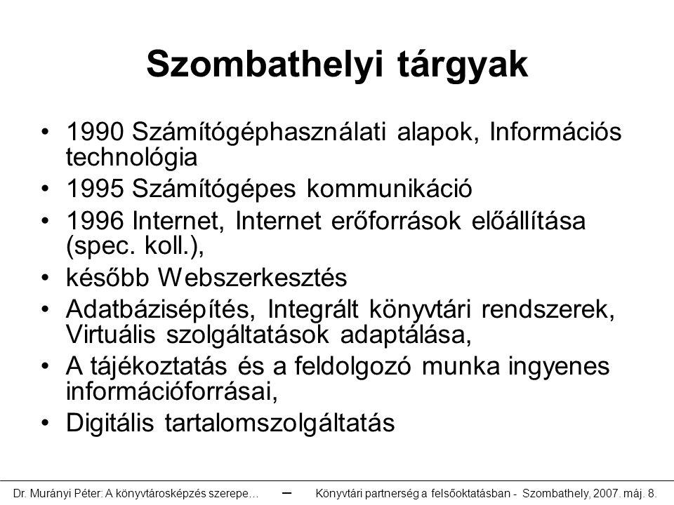 Szombathelyi tárgyak 1990 Számítógéphasználati alapok, Információs technológia. 1995 Számítógépes kommunikáció.