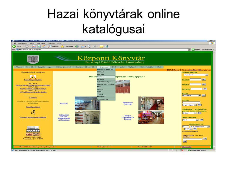Hazai könyvtárak online katalógusai