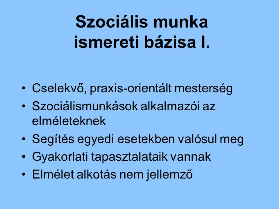 Szociális munka ismereti bázisa I.