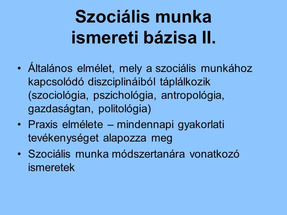 Szociális munka ismereti bázisa II.