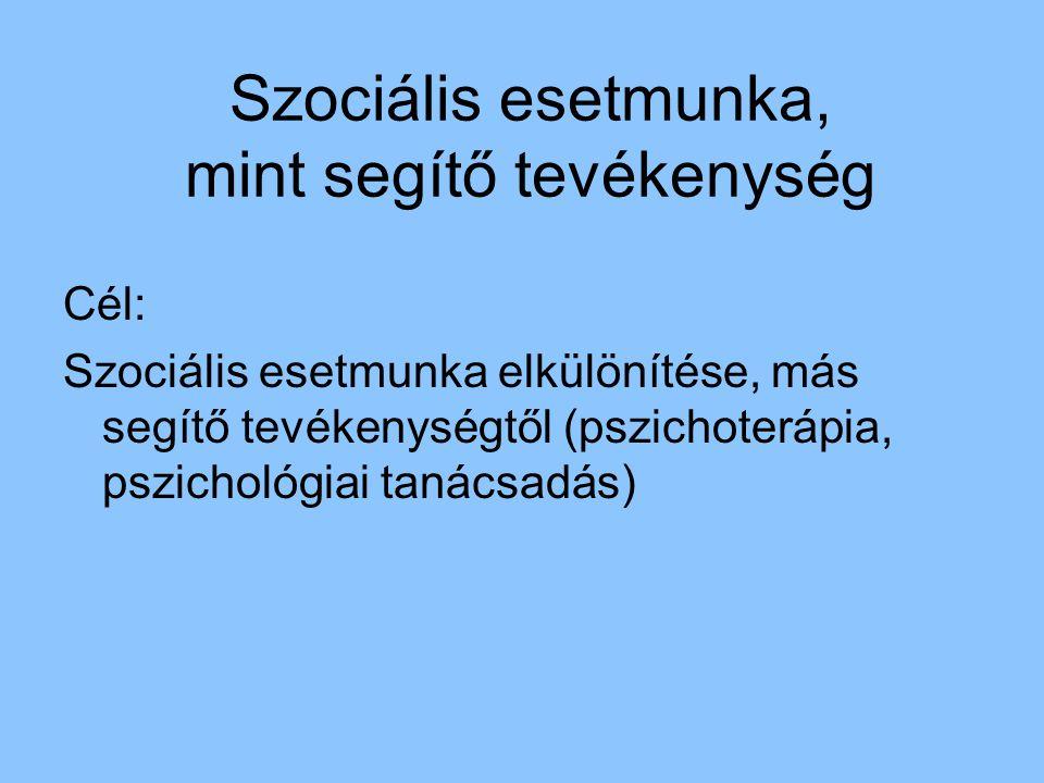 Szociális esetmunka, mint segítő tevékenység