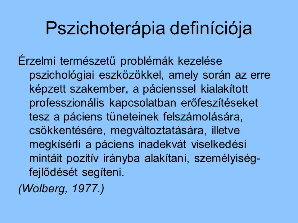 Pszichoterápia definíciója