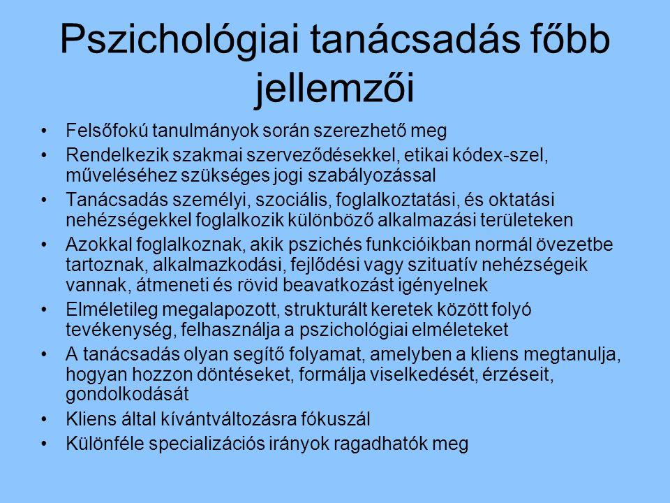 Pszichológiai tanácsadás főbb jellemzői