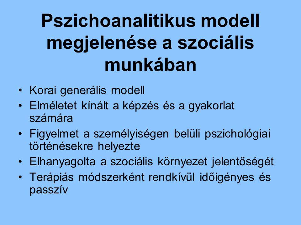 Pszichoanalitikus modell megjelenése a szociális munkában