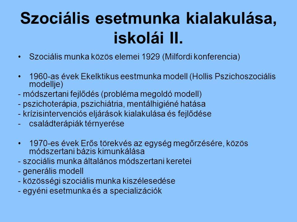 Szociális esetmunka kialakulása, iskolái II.