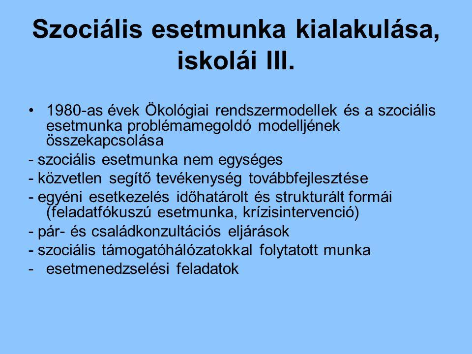 Szociális esetmunka kialakulása, iskolái III.
