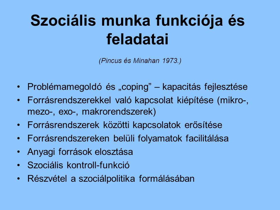 Szociális munka funkciója és feladatai (Pincus és Minahan 1973.)
