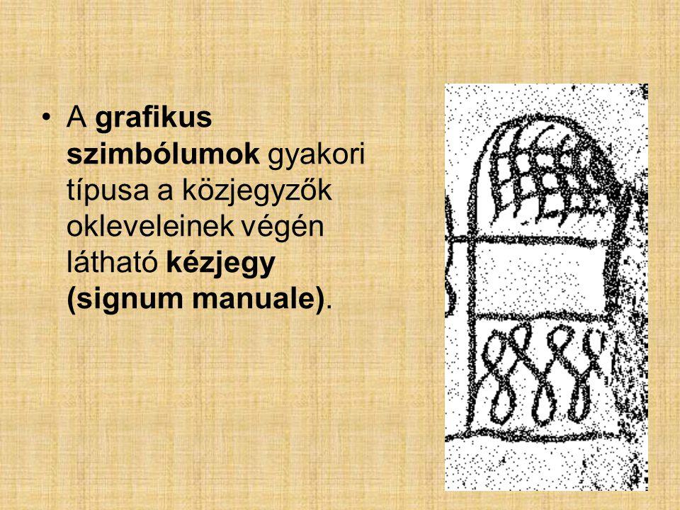 A grafikus szimbólumok gyakori típusa a közjegyzők okleveleinek végén látható kézjegy (signum manuale).
