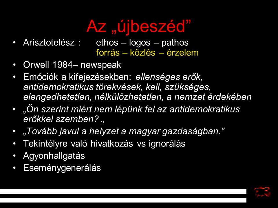 """Az """"újbeszéd Arisztotelész : ethos – logos – pathos forrás – közlés – érzelem. Orwell 1984– newspeak."""