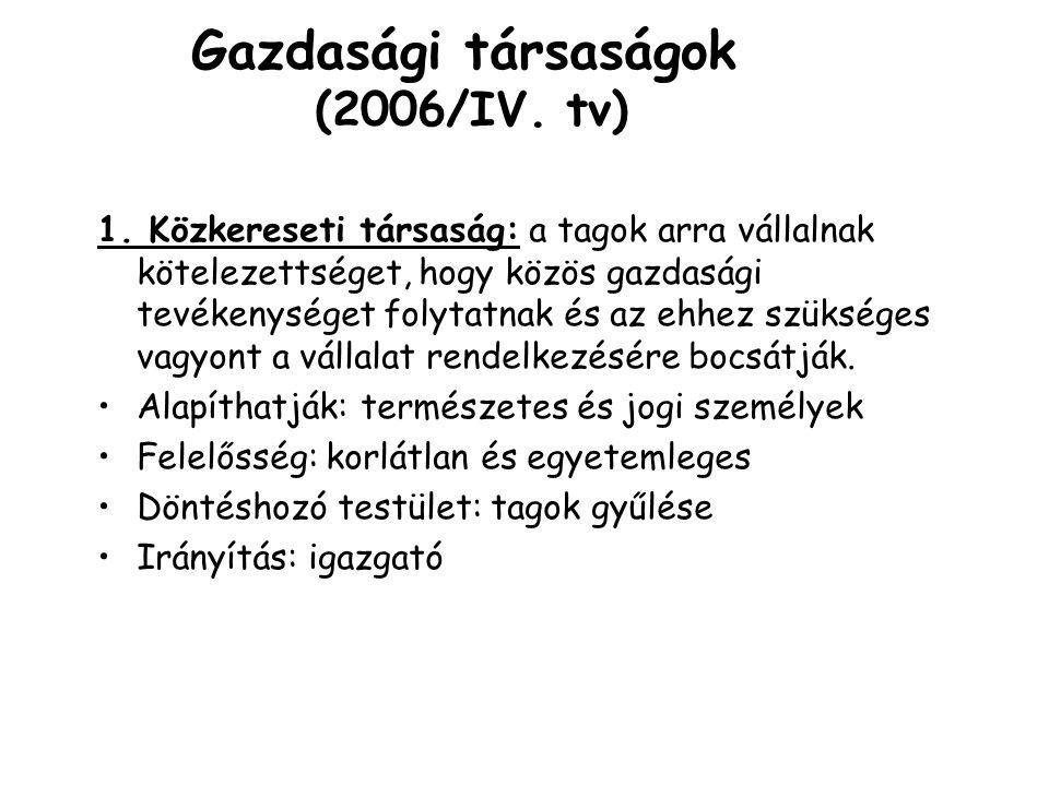 Gazdasági társaságok (2006/IV. tv)