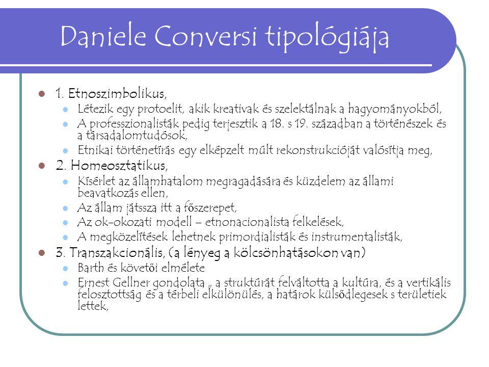 Daniele Conversi tipológiája