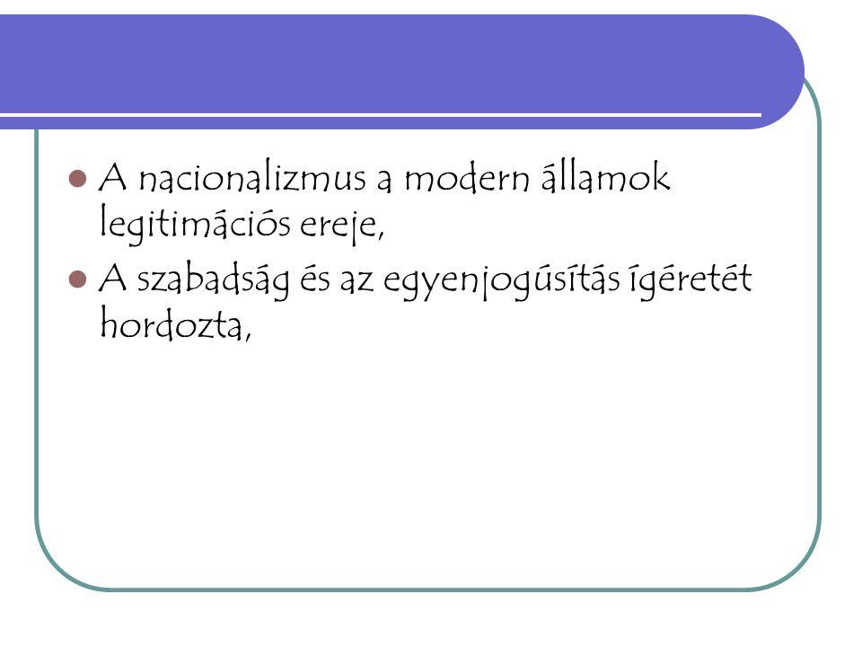 A nacionalizmus a modern államok legitimációs ereje,