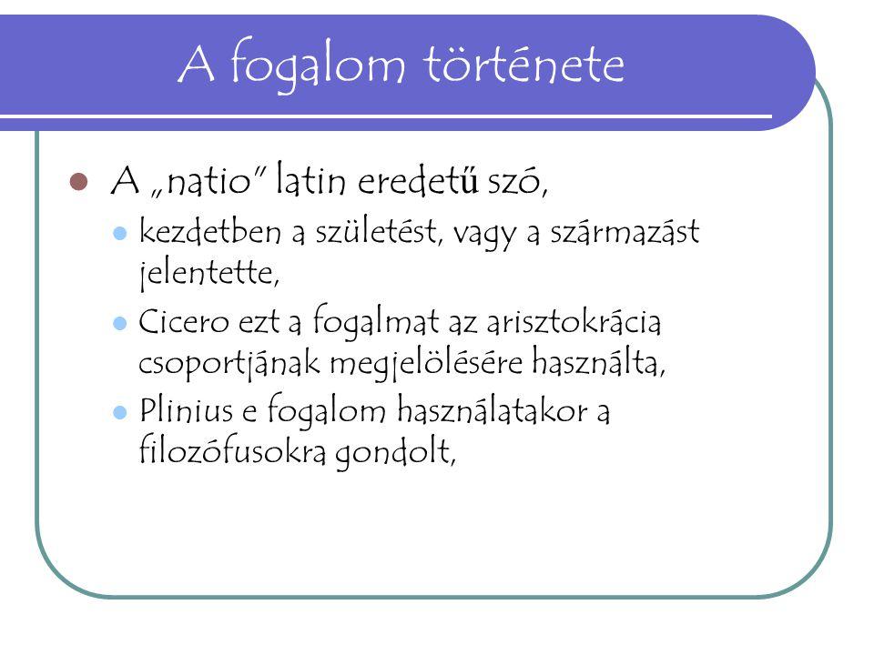 """A fogalom története A """"natio latin eredetű szó,"""