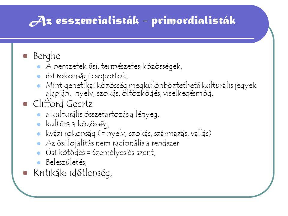 Az esszencialisták - primordialisták