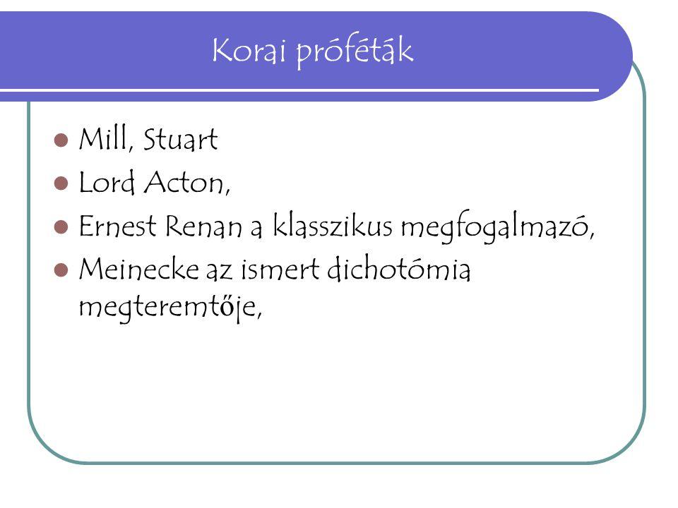 Korai próféták Mill, Stuart Lord Acton,