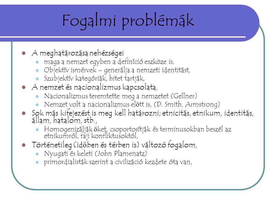 Fogalmi problémák A meghatározása nehézségei