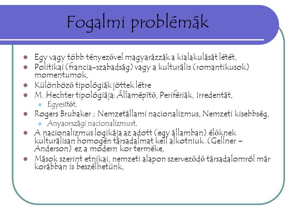 Fogalmi problémák Egy vagy több tényezővel magyarázzák a kialakulását létét,