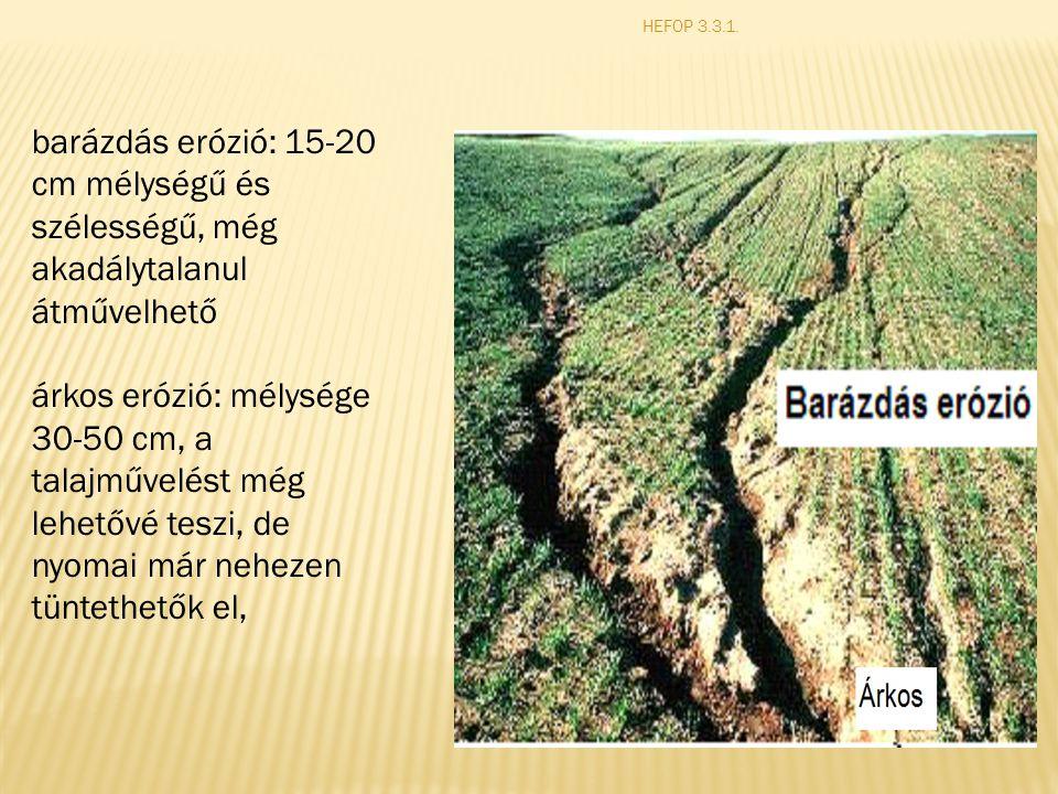 HEFOP 3.3.1. barázdás erózió: 15-20 cm mélységű és szélességű, még akadálytalanul átművelhető.