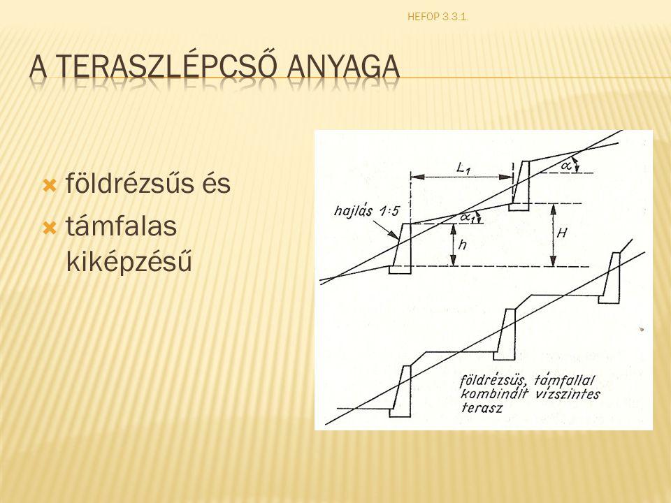 HEFOP 3.3.1. A teraszlépcső anyaga földrézsűs és támfalas kiképzésű