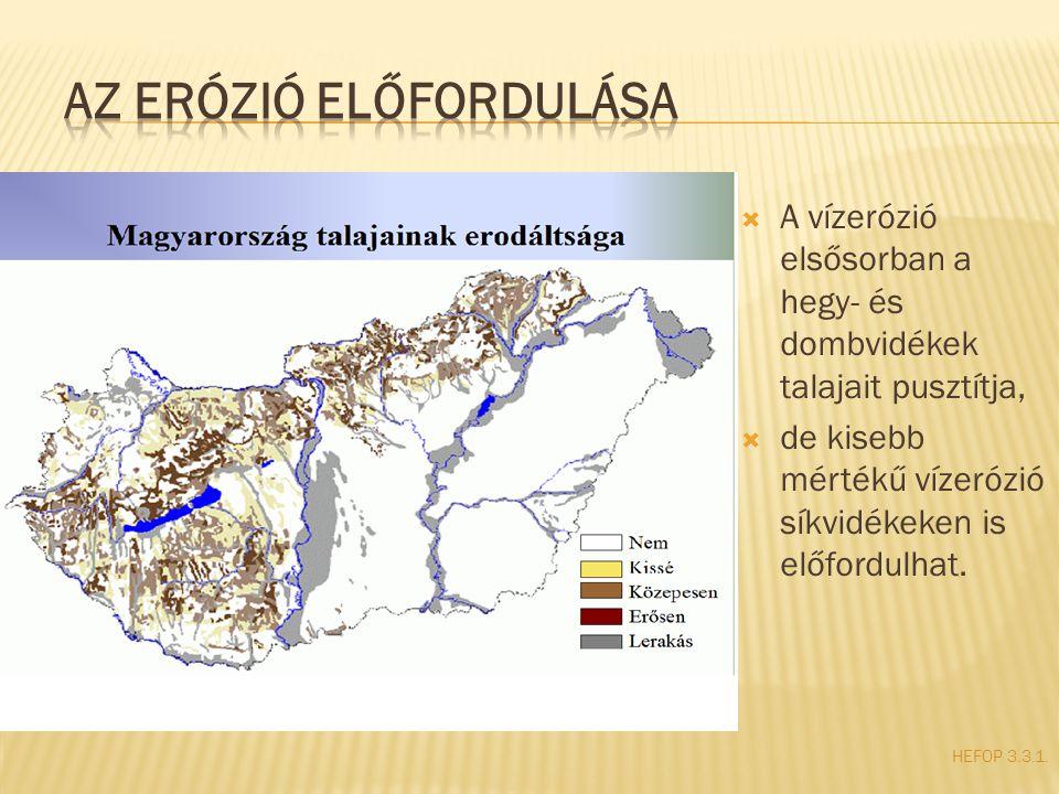 Az erózió előfordulása
