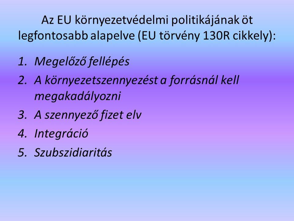 Az EU környezetvédelmi politikájának öt legfontosabb alapelve (EU törvény 130R cikkely):