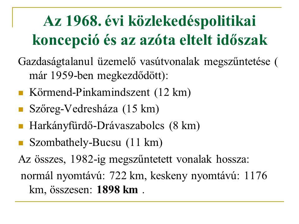 Az 1968. évi közlekedéspolitikai koncepció és az azóta eltelt időszak