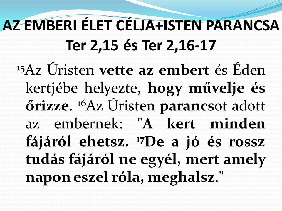 AZ EMBERI ÉLET CÉLJA+ISTEN PARANCSA Ter 2,15 és Ter 2,16-17