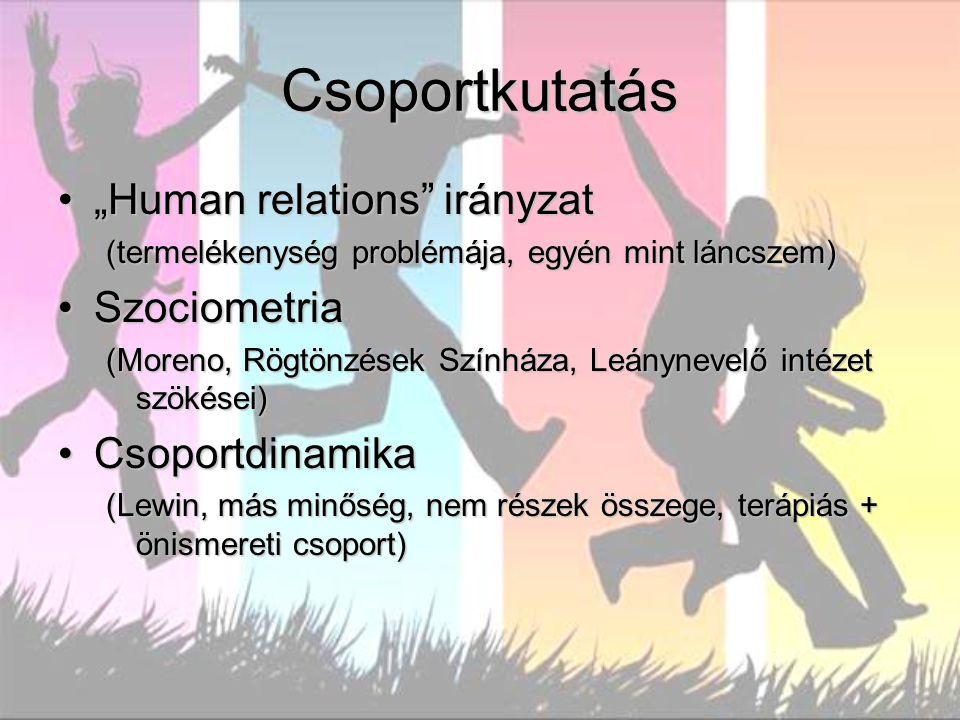 """Csoportkutatás """"Human relations irányzat Szociometria Csoportdinamika"""