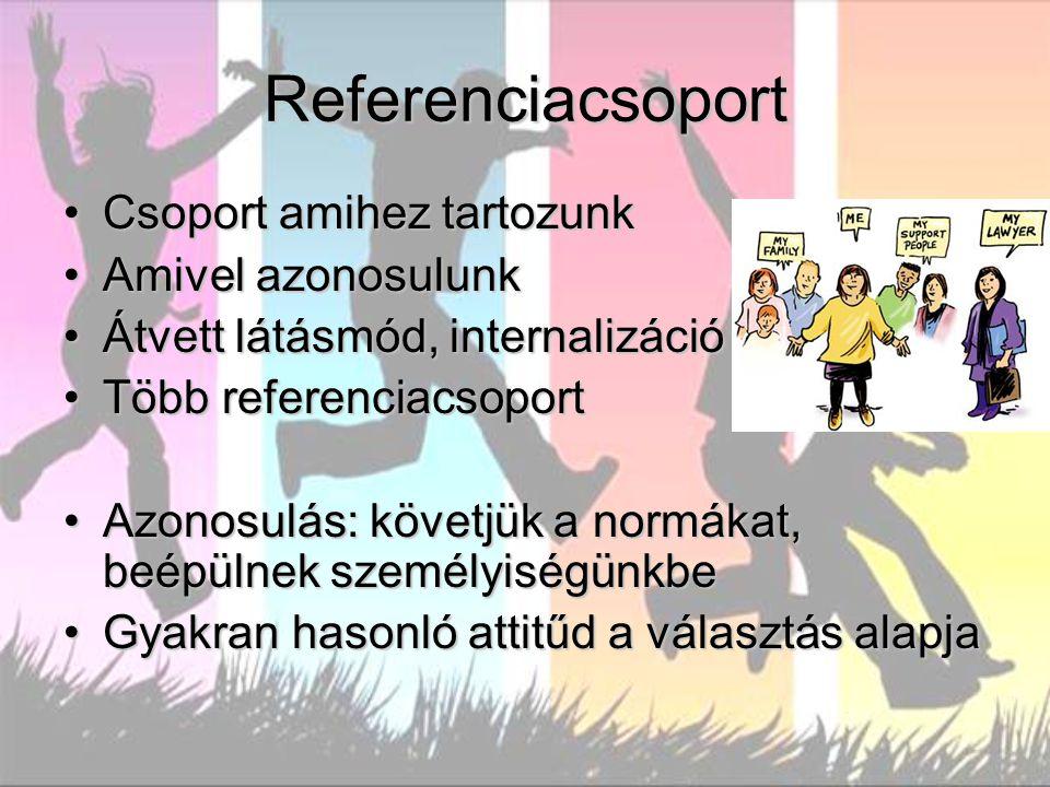 Referenciacsoport Csoport amihez tartozunk Amivel azonosulunk