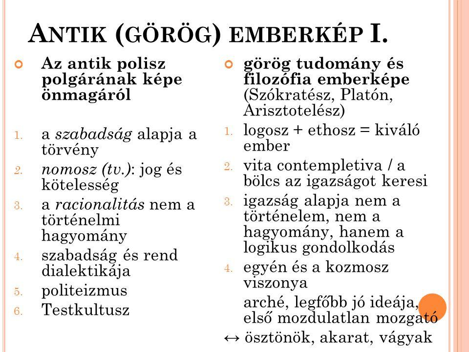 Antik (görög) emberkép I.