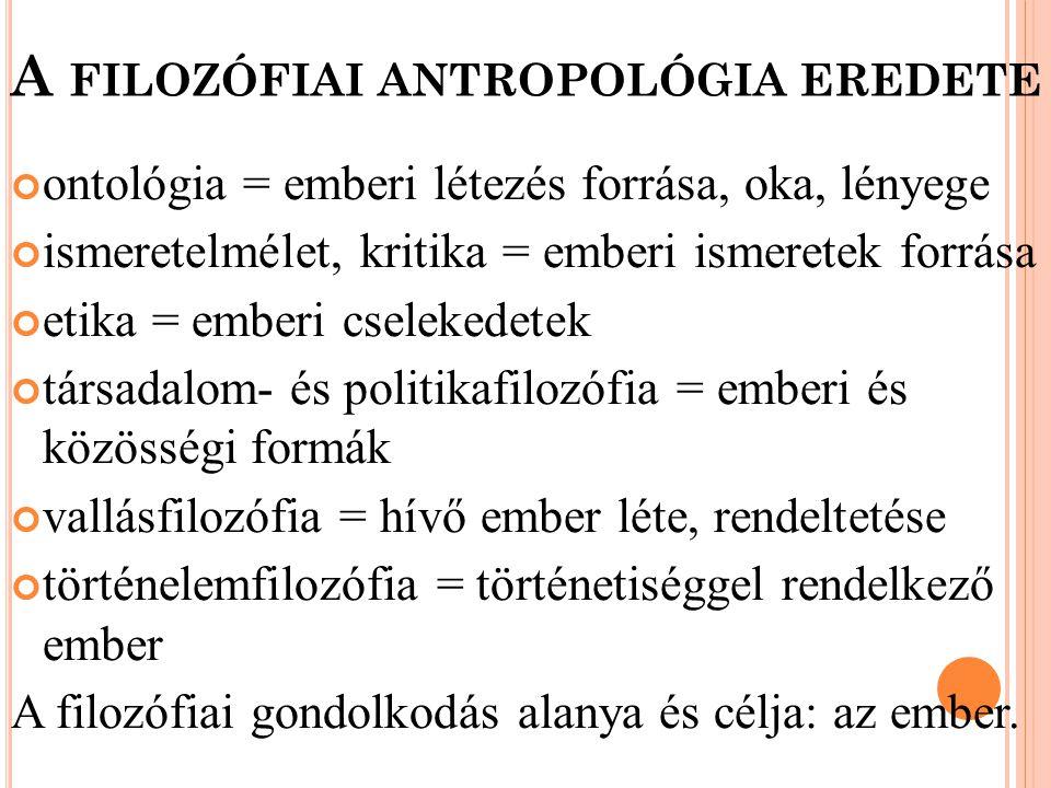 A filozófiai antropológia eredete