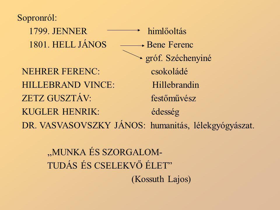 Sopronról: 1799. JENNER himlőoltás. 1801. HELL JÁNOS Bene Ferenc. gróf. Széchenyiné.
