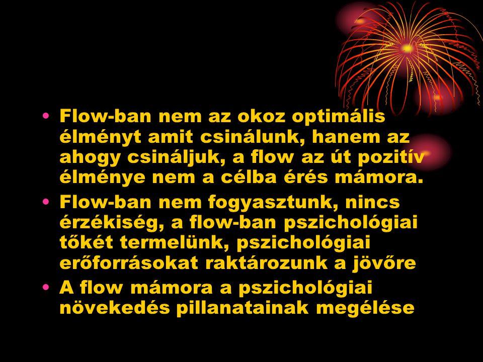 Flow-ban nem az okoz optimális élményt amit csinálunk, hanem az ahogy csináljuk, a flow az út pozitív élménye nem a célba érés mámora.