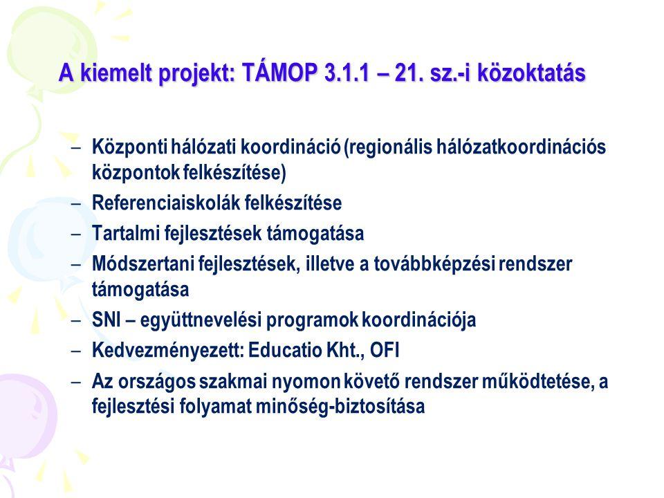 A kiemelt projekt: TÁMOP 3.1.1 – 21. sz.-i közoktatás