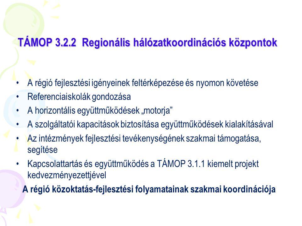 TÁMOP 3.2.2 Regionális hálózatkoordinációs központok