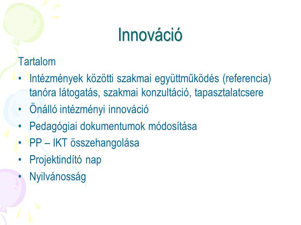 Innováció Tartalom. Intézmények közötti szakmai együttműködés (referencia) tanóra látogatás, szakmai konzultáció, tapasztalatcsere.