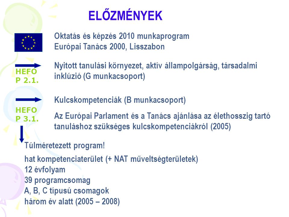 ELŐZMÉNYEK Oktatás és képzés 2010 munkaprogram