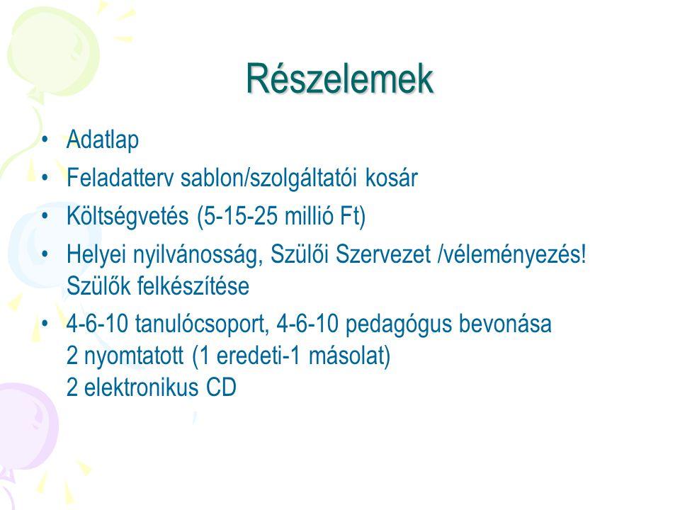 Részelemek Adatlap Feladatterv sablon/szolgáltatói kosár