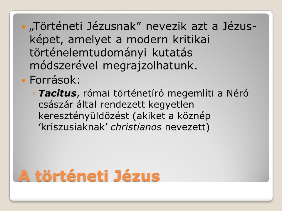 """""""Történeti Jézusnak nevezik azt a Jézus- képet, amelyet a modern kritikai történelemtudományi kutatás módszerével megrajzolhatunk."""
