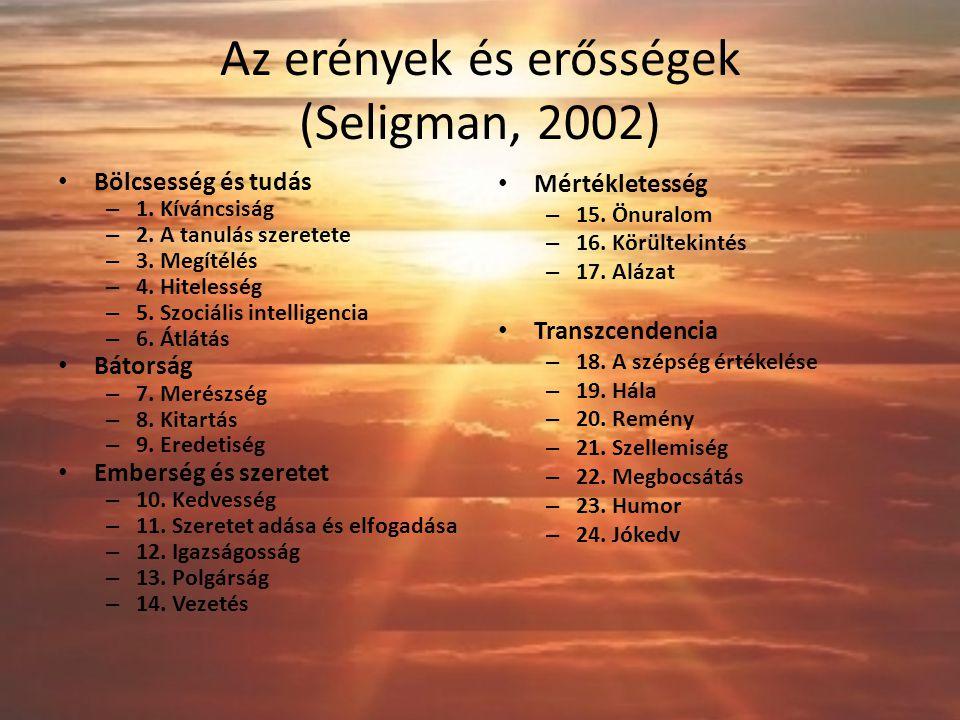 Az erények és erősségek (Seligman, 2002)