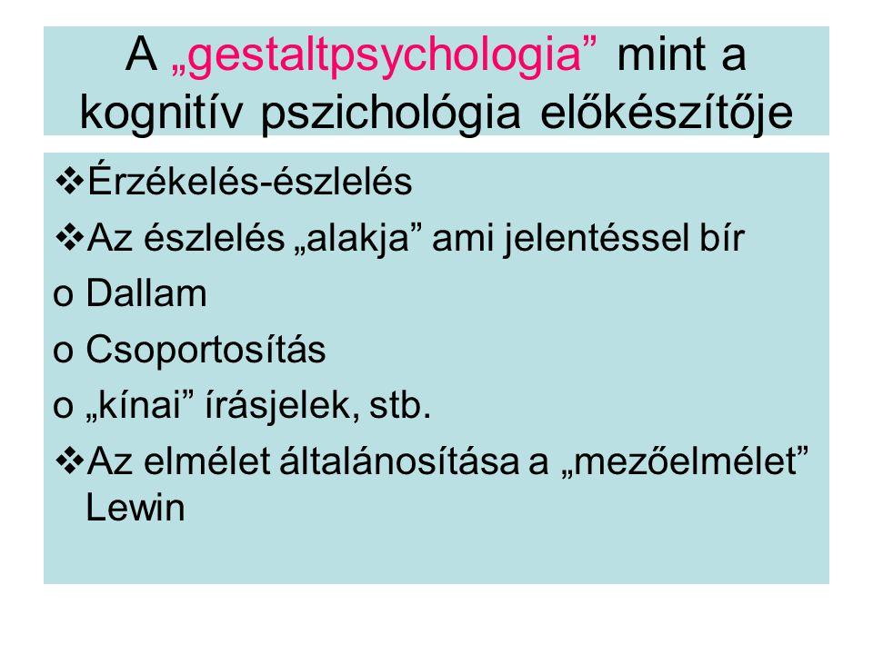 """A """"gestaltpsychologia mint a kognitív pszichológia előkészítője"""