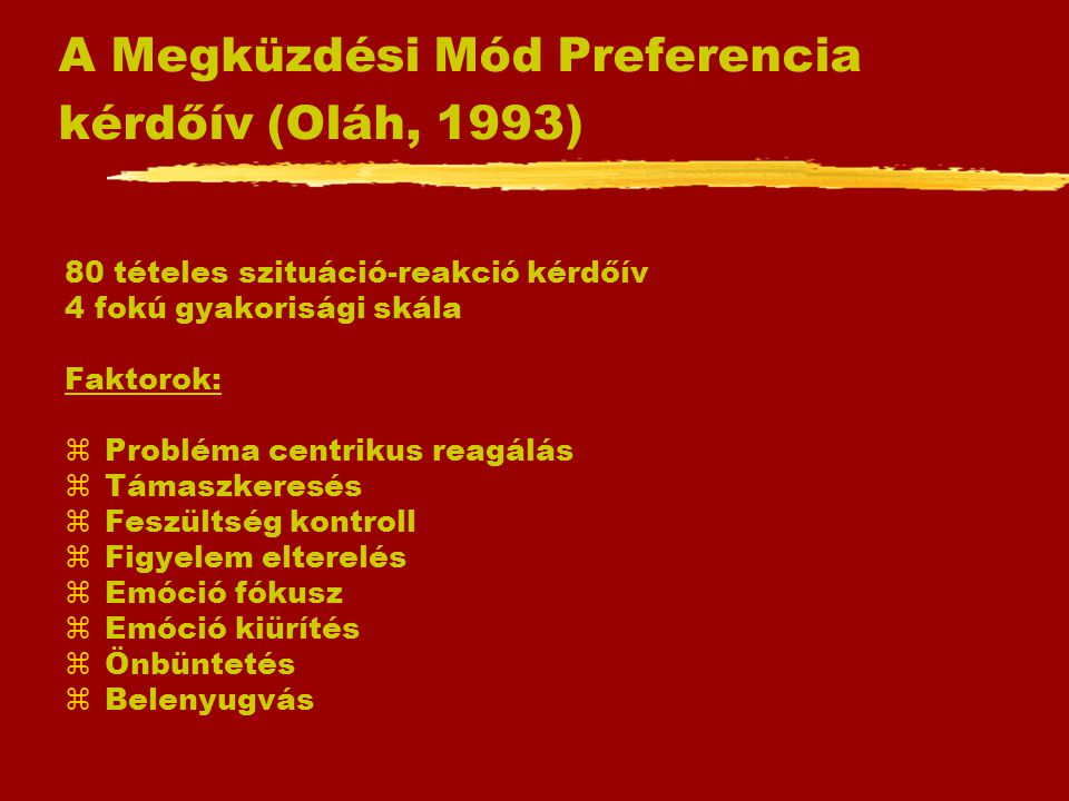 A Megküzdési Mód Preferencia kérdőív (Oláh, 1993)