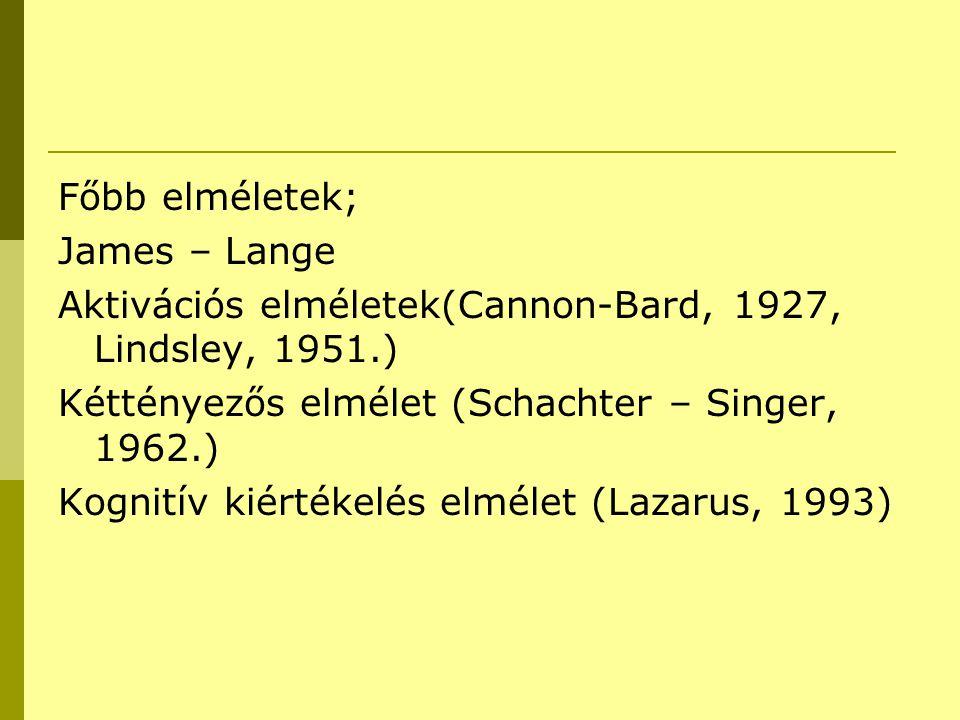 Főbb elméletek; James – Lange. Aktivációs elméletek(Cannon-Bard, 1927, Lindsley, 1951.) Kéttényezős elmélet (Schachter – Singer, 1962.)