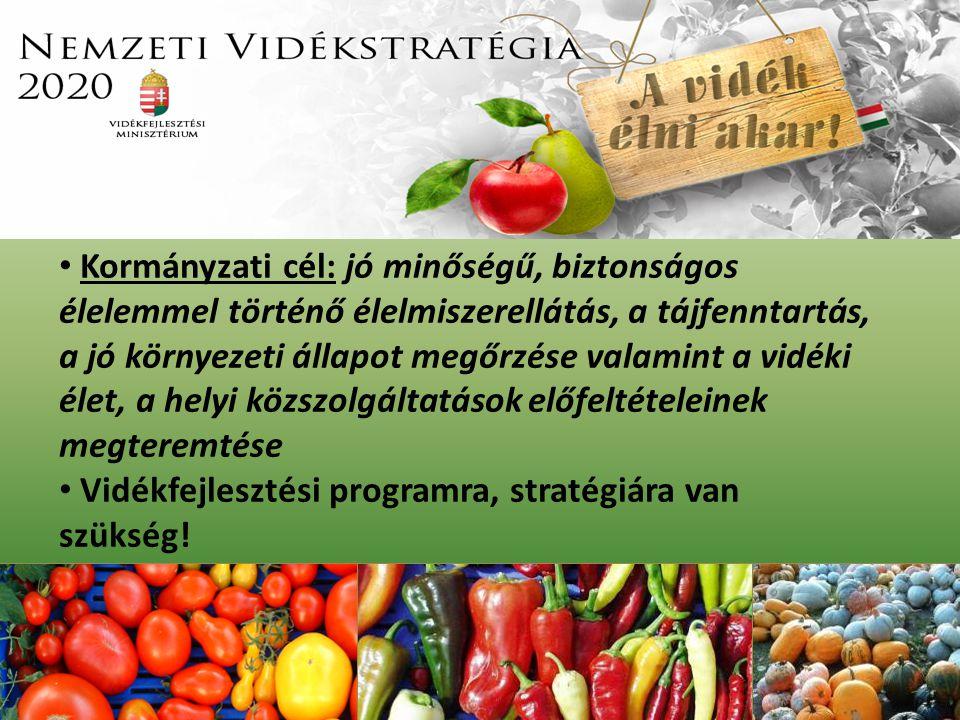 Kormányzati cél: jó minőségű, biztonságos élelemmel történő élelmiszerellátás, a tájfenntartás, a jó környezeti állapot megőrzése valamint a vidéki élet, a helyi közszolgáltatások előfeltételeinek megteremtése