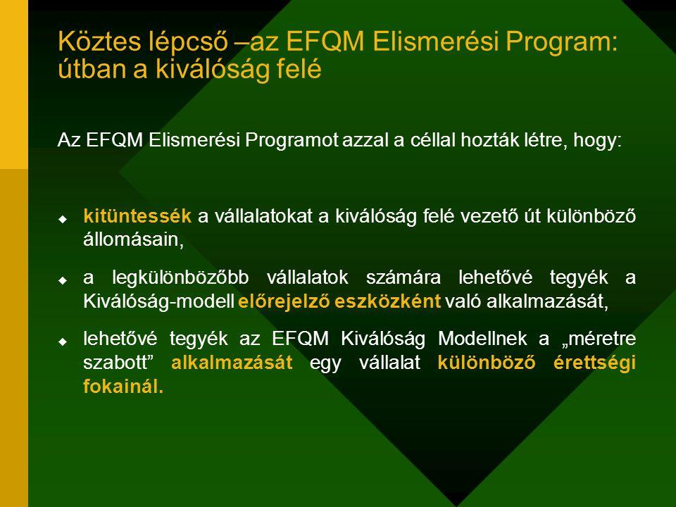 Köztes lépcső –az EFQM Elismerési Program: útban a kiválóság felé