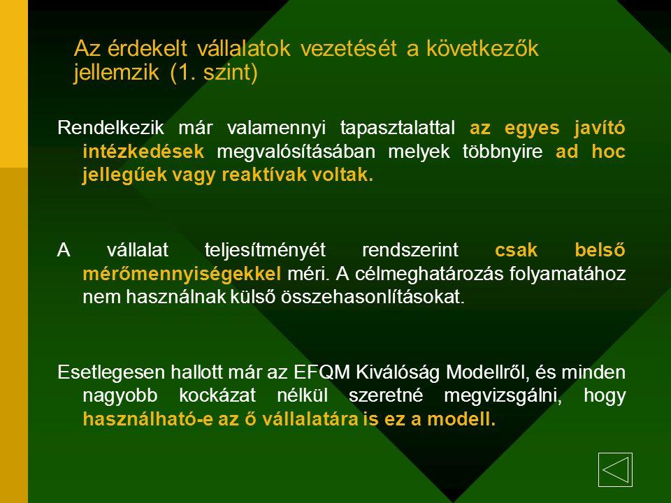 Az érdekelt vállalatok vezetését a következők jellemzik (1. szint)